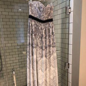 BCBG MaxAzria strapless grey and white ball gown